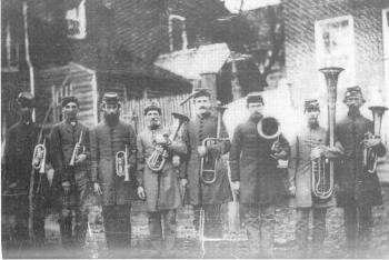Members of the Salem Band in 1862 on furlough.  Courtesy of the Moravian Music Foundation.